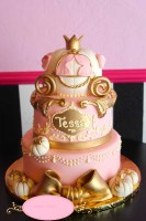 birthday-cake-baby-shower-cake-girl-pink-gold-bow-white-pumpkins-hand-detailing-filigree-crown-princess-cake-3-layers